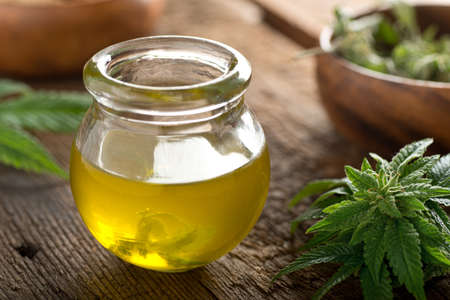 Photo for Delicious homemade cannabis oil with marijuana buds and leaf. - Royalty Free Image
