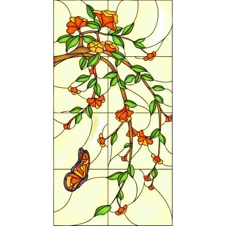 Illustration for Butterfly and a branch with flowers, stained glass window - Royalty Free Image