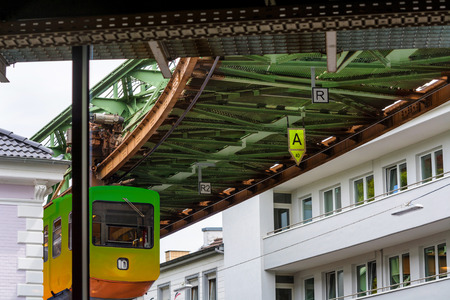Photo pour The Suspension Railway in Wuppertal is an elevated railway  for public passenger transport. - image libre de droit