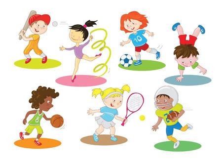 Ilustración de Happy healthy and active children doing indoor and outdoor sports Cartoon clip art characters collection in a simple style with colorful color scheme. - Imagen libre de derechos