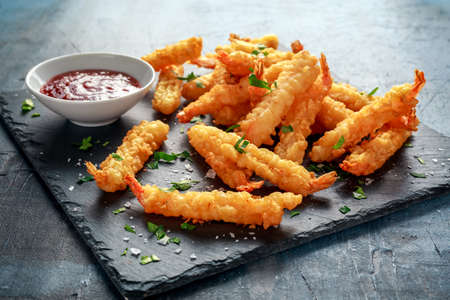 Photo for Fried Shrimps tempura with sweet chili sauce on black board stone - Royalty Free Image