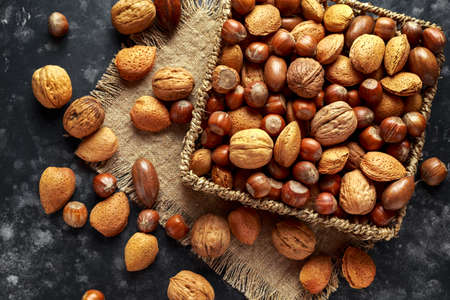 Photo for Mix of different kinds of nuts in shell - Royalty Free Image