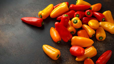 Photo for Fresh Sweet red, yellow and orange mini bell peppers. healthy raw vegetable food - Royalty Free Image