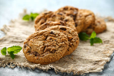Photo for Delicious Double chocolate chip cookies with mint. - Royalty Free Image