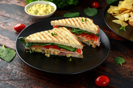 Photo for Sandwich with ham, cheese, tomatoes, spinach, corn, mayonnaise, mustard, gherkins, toasted bread and potato chips. - Royalty Free Image