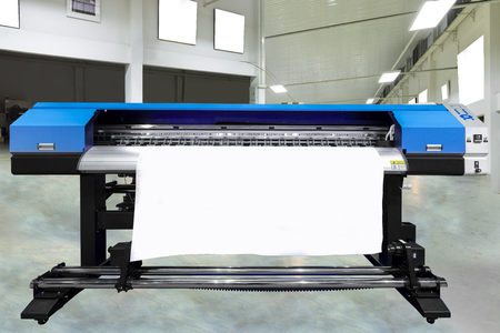 Photo for Large offset printing press or magazine running a long roll off paper in production line of industrial printer machine. - Royalty Free Image