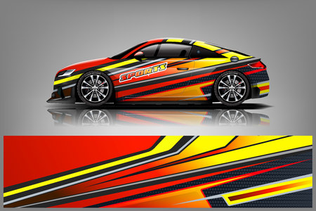Photo for Car decal wrap design vector. Graphic abstract stripe racing background kit designs for vehicle, race car, rally, adventure and livery - Vector - Royalty Free Image
