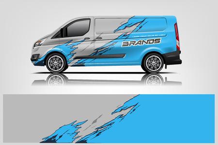 Photo pour Van wrap design. Wrap, sticker and decal design for company. Vector format - Vector - image libre de droit