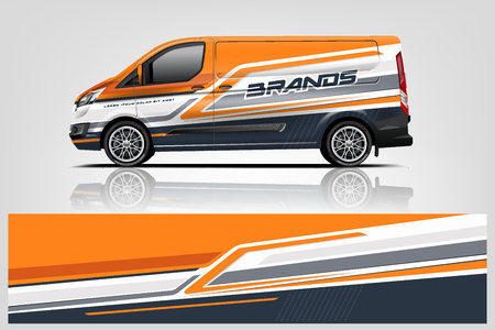 Photo for Van wrap design. Wrap, sticker and decal design for company. Vector format - Vector - Royalty Free Image