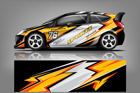 Illustration for Car decal wrap design vector. Graphic abstract stripe racing background kit designs for vehicle, race car, rally, adventure and livery - Vector - Royalty Free Image