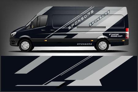Photo pour Van Wrap Livery deaign. Ready print wrap design for Van. - Vector - image libre de droit
