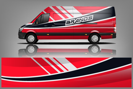 Foto per Van Wrap Livery design. Ready print wrap design for Van. - Vector - Immagine Royalty Free