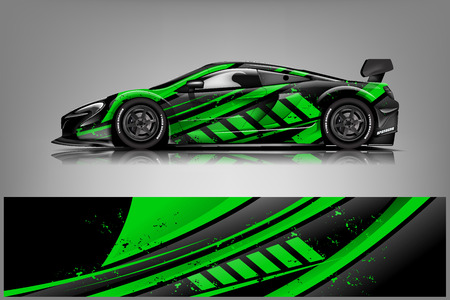 Photo pour Car decal wrap design vector. Graphic abstract stripe racing background kit designs for vehicle, race car, rally, adventure and livery - Vector - image libre de droit