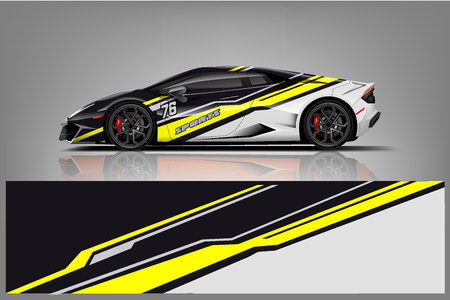 Illustration pour Sport car racing wrap design. vector design. - Vector - image libre de droit