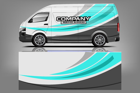 Illustration for Van car Wrap design for company - Royalty Free Image