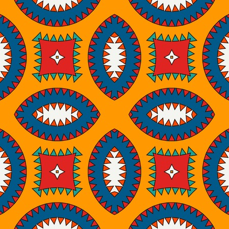 Illustration for African style seamless surface pattern with abstract figures. Bright ethnic and tribal print with geometric forms. - Royalty Free Image