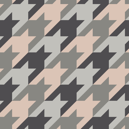 Illustration pour Seamless surface pattern design with houndstooth ornament. Classic fashion fabric print. Mosaic motif. Checkered geometric abstract background. Digital paper, textile print, page fill. Vector art. - image libre de droit