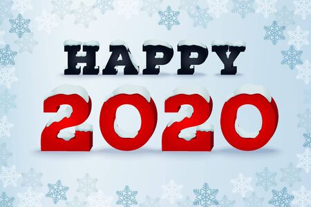 Illustration pour Happy 2020 year holiday greeting card. Winter style typography phrase. Typographic design template with snow cap text effect. Inscription on blue blured background with snowflakes. Vector illustration - image libre de droit