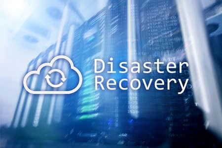 Foto de DIsaster recovery. Data loss prevention. Server room on background. - Imagen libre de derechos