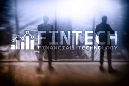 Photo for FINTECH - Financial technology, global business and information Internet communication technology. Skyscrapers background. Hi-tech business concept. - Royalty Free Image