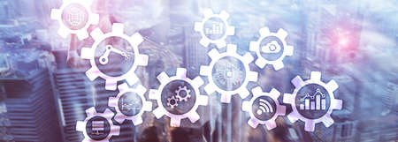 Foto de Automation technology and smart industry concept on blurred abstract background. Gears and icons. - Imagen libre de derechos