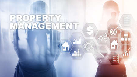 Foto de Property management. Business, Technology, Internet and network concept. Abstract Blurred Background. - Imagen libre de derechos