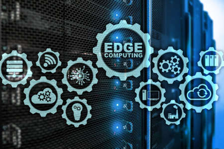 Foto de EDGE COMPUTING on modern server room background. Information technology and business concept for resource intensive distributed computing services. - Imagen libre de derechos