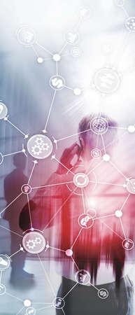 Foto de Vertical Panorama Banner. Business process structure industrial workflow diagram automation innovation concept on virtual screen mixed media - Imagen libre de derechos