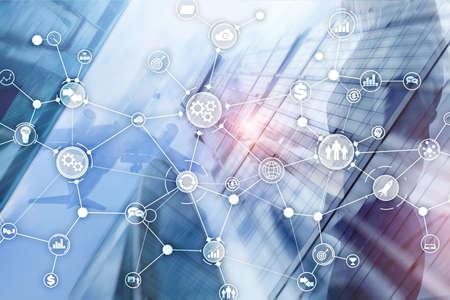 Foto de Business process structure industrial workflow diagram automation innovation concept on virtual screen mixed media. - Imagen libre de derechos