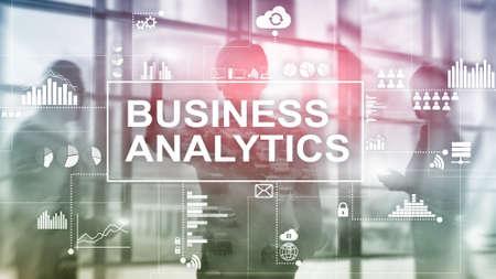 Photo pour Business analytics concept on double exposure background. - image libre de droit