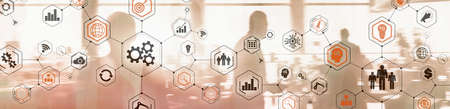 Photo pour Business Structure Diagram. Gears mechanis and Social media on virtual screen - image libre de droit