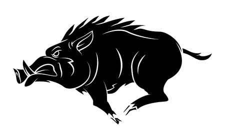 Illustration pour Wild Boar Tattoo Mascot - image libre de droit