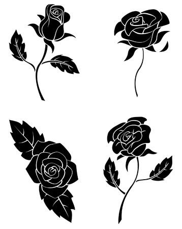 Ilustración de Black Silhouette Collection Of Rose Flower - Imagen libre de derechos