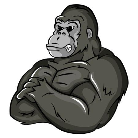Illustration pour Gorilla Strong Mascot - image libre de droit