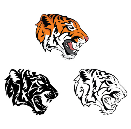 Illustration for Coloring book tiger roar cartoon character - Royalty Free Image