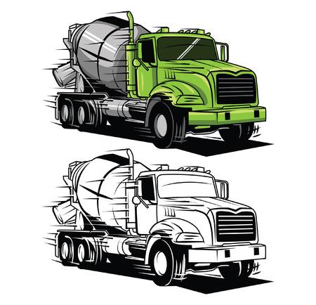 Illustration pour Coloring book big truck cartoon character - image libre de droit