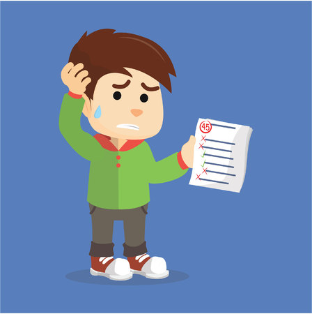 Illustrazione per Boy get a bad Grade - Immagini Royalty Free