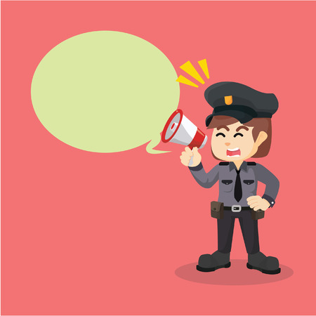 Ilustración de police women megaphone callout - Imagen libre de derechos