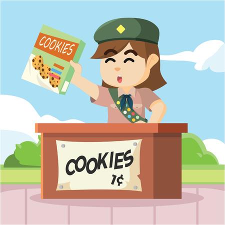 Ilustración de scout girl selling cookies - Imagen libre de derechos