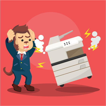 Illustration pour monkey business panic because broken photocopy machine - image libre de droit