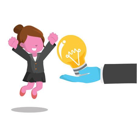 Illustration pour pink businesswoman happy because get a bulb - image libre de droit