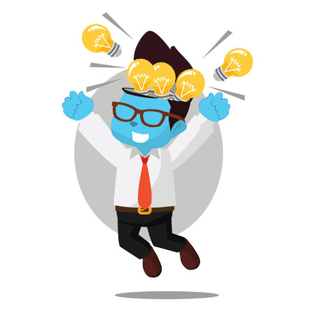 Illustration pour Businessman happy because full of bulb– stock illustration - image libre de droit