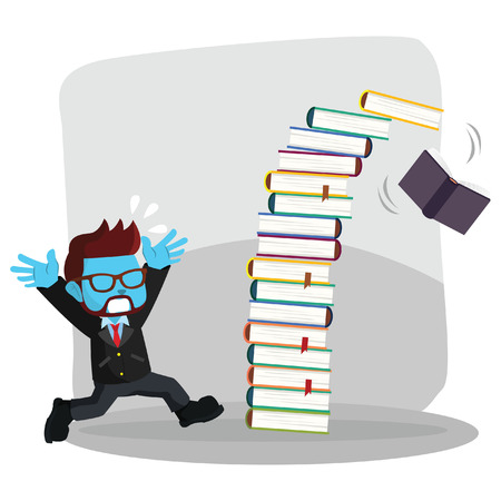 Illustration pour Blue businessman panicked because falling book stock illustration. - image libre de droit