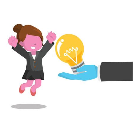Illustration pour Pink businesswoman happy because get a bulb– stock illustration - image libre de droit