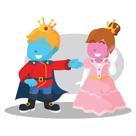 Illustration for Blue king and pink princess stock illustration. - Royalty Free Image