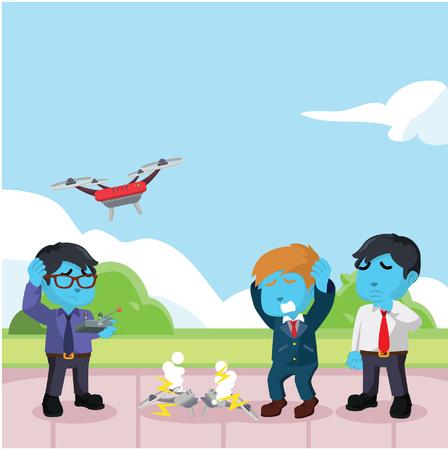 Illustration pour Blue businessman drone broken because of his friend– stock illustration - image libre de droit