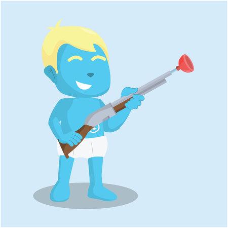 Illustration pour Blue baby boy holding shotgun toy– stock illustration - image libre de droit