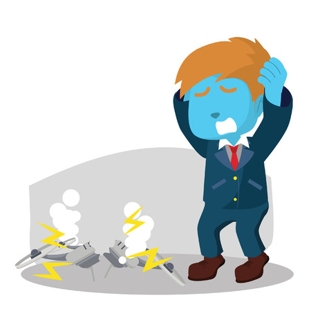 Illustration pour Blue businessman in panic - image libre de droit