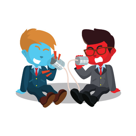 Illustration pour Two businessmen shouting on can phone stock illustration. - image libre de droit