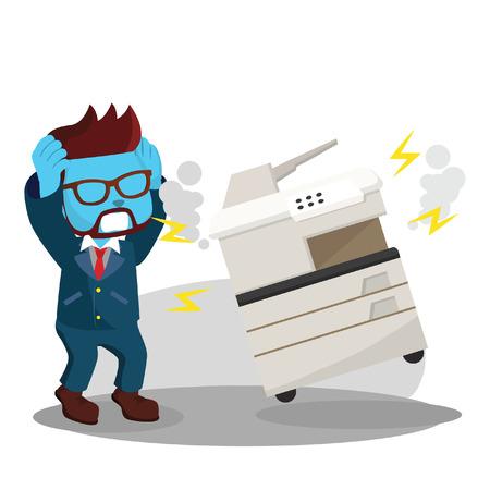 Illustration pour Blue businessman panicked because photocopy machine has broken– stock illustration - image libre de droit